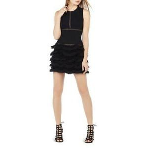 BCBGMAXAZARIA Maile Black Ruffle Dress, Size 2